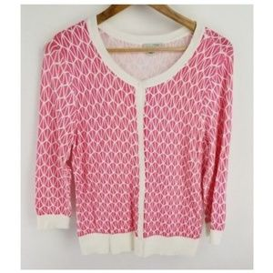 Halogen Cardigan Pink White Size Large Geometric